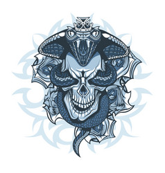 tattoo design queen cobra over skull on vector image