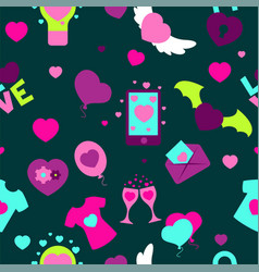 valentine s day seamless pattern flat vector image