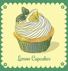 vintage card lemon cupcakes vector image