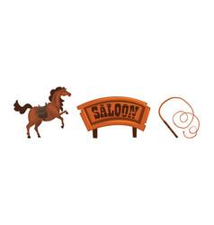 wild west symbols set wooden western saloon sign vector image