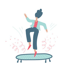 Woman jumping on a trampoline vector