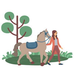woman walking with horse ranch or farm vector image