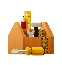 Wooden toolbox with tools icon vector