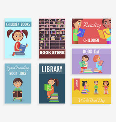 World book day in children library bookstore vector