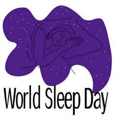 world sleep day contour a sleeping man vector image