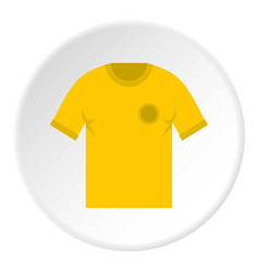 Yellow soccer shirt icon circle vector