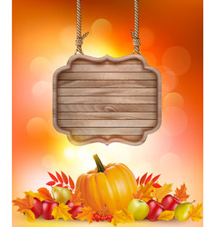 Autumn background with fruit and leaves and vector