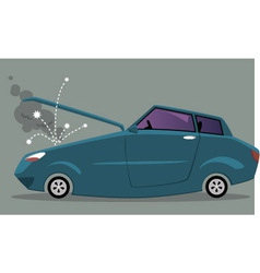 Broken car with an open hood vector