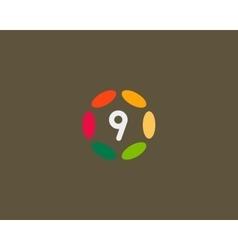 Color number 9 logo icon design Hub frame vector image