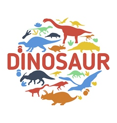 Dinosaurs symbols in the shape of circle vector