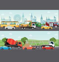 highways road with many different vehicles vector image vector image
