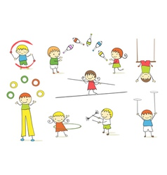 juggling kids vector image vector image