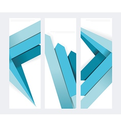 Set of abstract paper banners with blue arrows vector image
