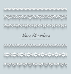 Set of lace borders vector