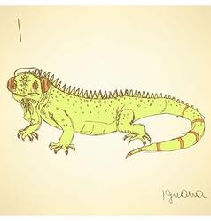 Sketch fancy iguana in vintage style vector image vector image