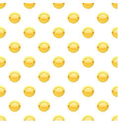 Gold circle metal badge pattern vector