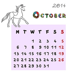 horse calendar 2014 october vector image