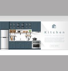 Interior design Modern kitchen background 4 vector image