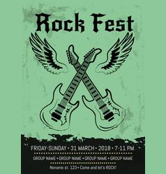 rock fest party announcement poster design vector image vector image