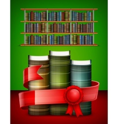 Stack of books on color vector image vector image