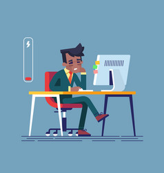 tired black man sitting at his working place vector image vector image