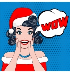 wow bubble woman in christmas hat vector image vector image