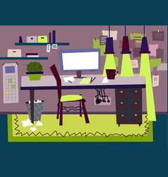 cartoon flat interior work room vector image
