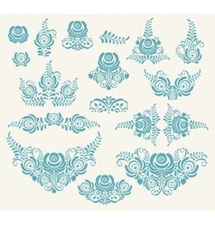 floral elements in gzhel style vector image