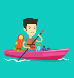 man riding in kayak vector image vector image