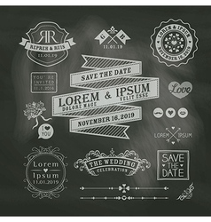 Vintage Wedding frames on chalkboard background vector image vector image