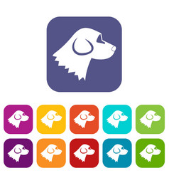 beagle dog icons set vector image
