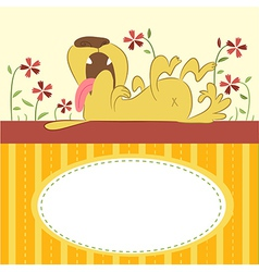 Cartoon Animal Card with Funny Dog vector image vector image