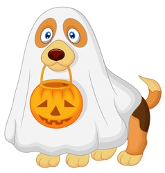 Dog cartoon dressed up as a spooky ghost vector
