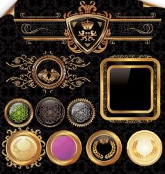 golden vintage labels set vector image vector image