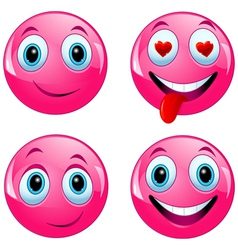 Pink smiley ball vector image vector image