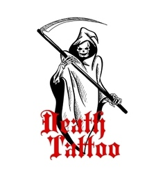 Spooky skeleton in cape with scythe sketch symbol vector image