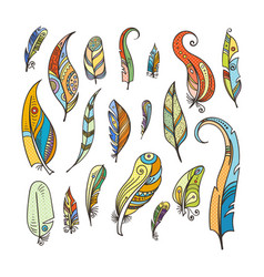 tribal feathers coloring doodle pictures isolated vector image vector image