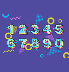 80 s retro folding numbers vintage vector