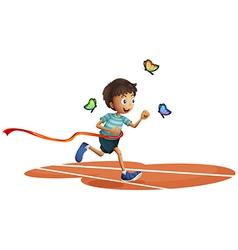 A boy running with three butterflies vector