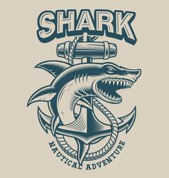 A shark with anchor in vintage style vector