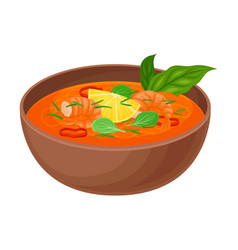 Appetizing thai noodle soup with shrimps and vector