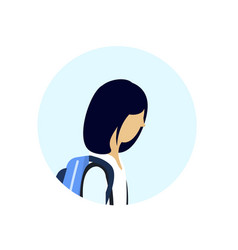 Asian school girl profile avatar icon isolated vector