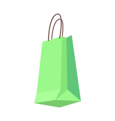 bag of green color with handles shopping packet vector image