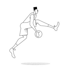 Basketball man player jump pose in outline style vector
