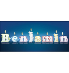 BENJAMIN written with burning candles vector