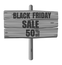 Black Friday sale wooden sign icon vector