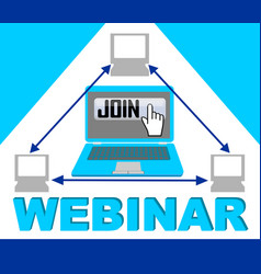 blue webinar banner with group of computers in vector image