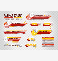 bright tags for news channels vector image