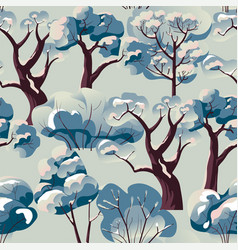 bushes trees branches covered with snow pattern vector image