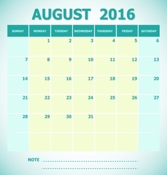 Calendar August 2016 week starts Sunday vector
